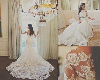 Кружевом Belero 2015 сексуальная милая русалка свадебное платье из органзы аппликация
