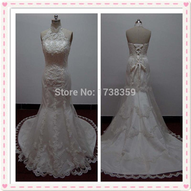 2015 Free Customize Custom Made Size 26W 28W 30W Vestido De Noiva Ivory/White Chapel Sheath Cathedral Royal Train Wedding Dress(China (Mainland))