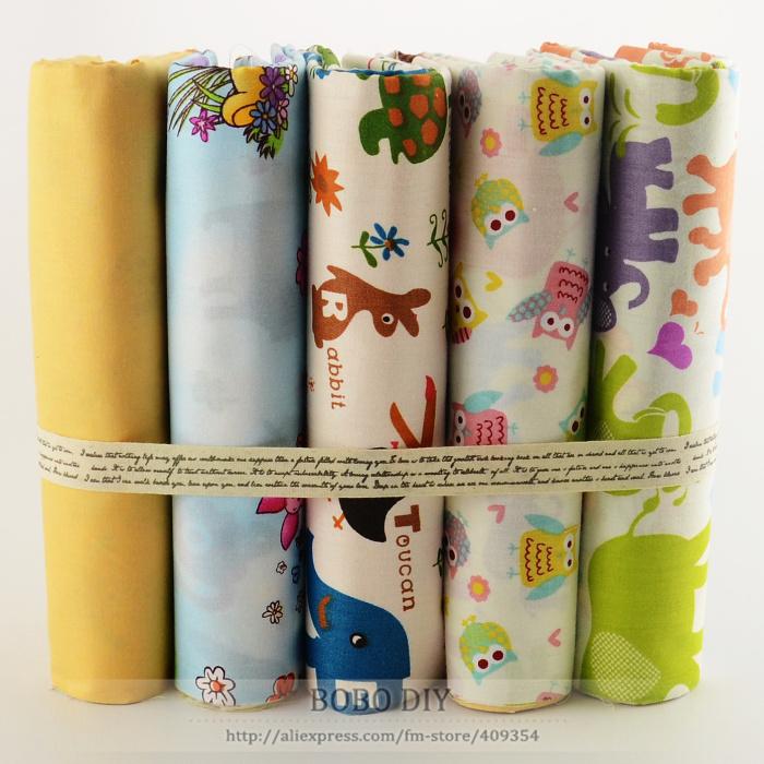 """5 PCS 40cmx50cm""""Kawaii cartoon"""" cotton fabric fat quarters kids bedding home textile quilting patchwork pillow tilda cloth(China (Mainland))"""