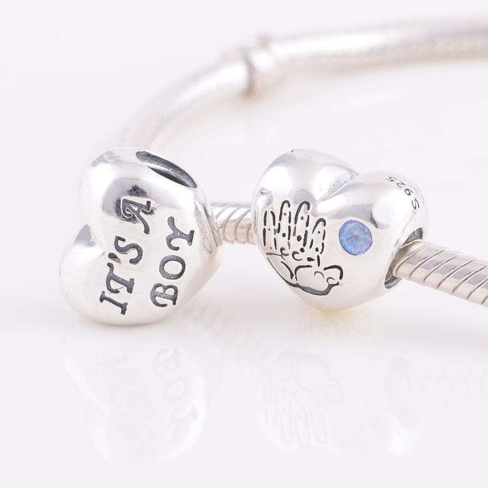 New 925 Sterling Silver Bead Baby Boy Heart with Blue CZ European Women DIY Charm Jewelry Fits For Pandora Original Bracelet(China (Mainland))