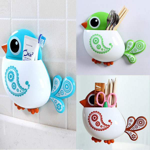 1pc New Lovely Funny Attractive Bird Pattern Tooth Brush Holder 4color Choice(China (Mainland))