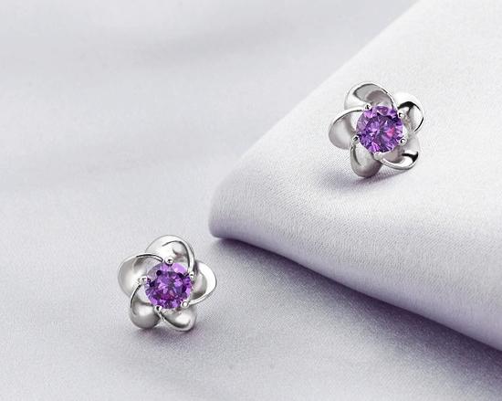 Wedding Jewelry Women Earrings Bijoux 925 Sterling Sliver Zircon Enamel Flower Earrings(China (Mainland))