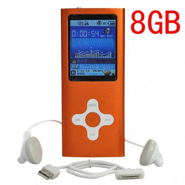 Hot Sale Ultra Thin 8GB MP3 MP4 Media Video Player Music Player with Stereo Headphone, Microphone Recording Orange LS*DA0206#C2(China (Mainland))