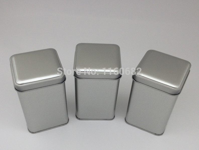 75* 75* 120mm Silver Square plain tin box/tea pot / jewelry metal storage box without printing(China (Mainland))