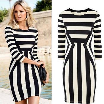 Feitong женские летние свободного покроя одежда черный + белый полосатый платье пакет рабочая одежда хип ну вечеринку мини платье бесплатная доставка