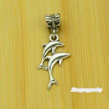 Free shipping!  25pcs Dolphin Tibetan silver big hole pendant fit Pandora charm bracelet DIY pendant. XQ0116