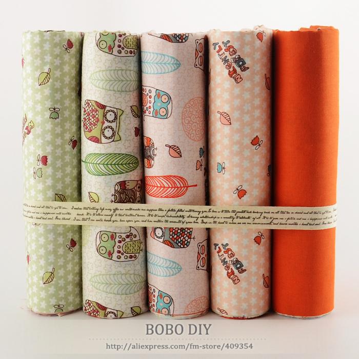 """5 PCS 40 cm x 50 cm """" owls cartoon """" tissu de coton fat quarters enfants literie textile de maison quilting patchwork oreiller rideau tilda tissu(China (Mainland))"""