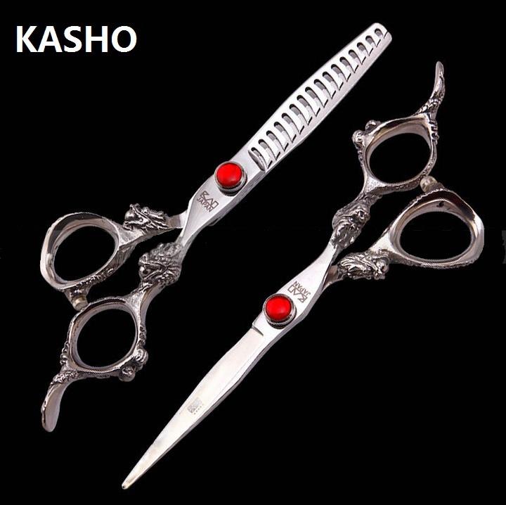 7 дюймов ножницы профессиональный kasho ножницы парикмахерская парикмахерская pet ножницы дракона форме ручки