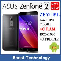 "Original Asus ZenFone 2 ZE551ML mobile phone 4G FDD LTE Intel Z3580 64 Bit Quad Core CPU 2.3GHz 5.5"" 1080P 4G RAM 64G ROM NFC"