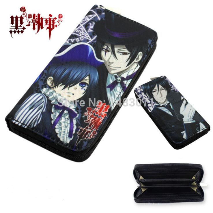 Hot Amine 19.5*9.5*2.5cm Black Butler Purse Cartoon Ciel Sebastian Zipper Long Wallet Purse 2 Styles Can Choose(China (Mainland))