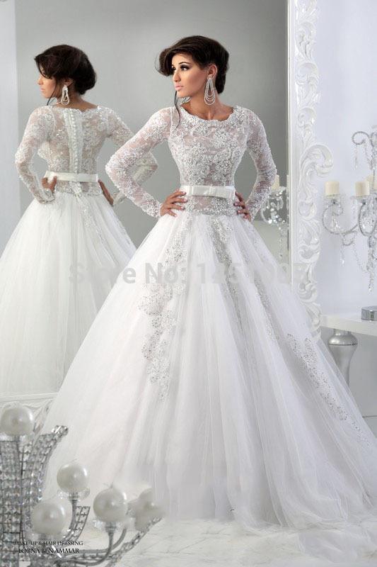 Muslim Wedding Dress Uae : Elegant scoop a line appliqued arabic dubai abaya lace