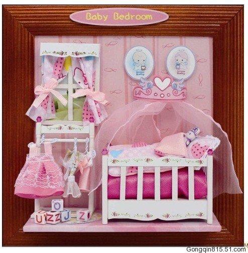 Babykamer- creatieve diy houten speelgoed huis, model meubilair ...