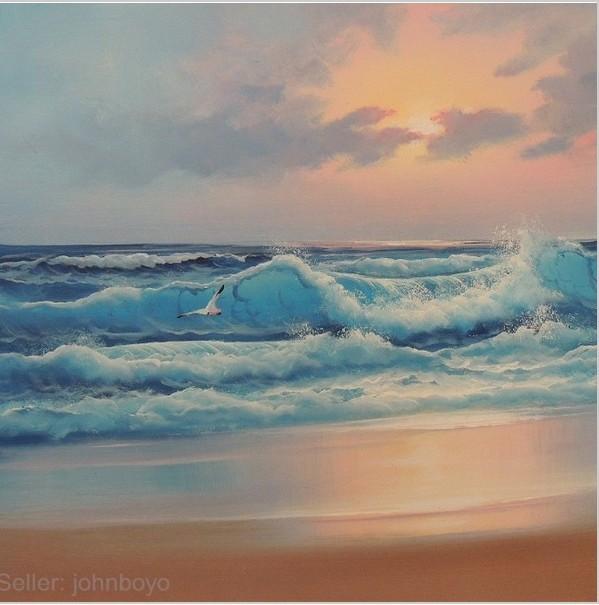 Oilpainting mar do caribe sunset surf ondas praia oceano azul rosa cinza 24 X 36 pintura a óleo etiqueta de envio(China (Mainland))