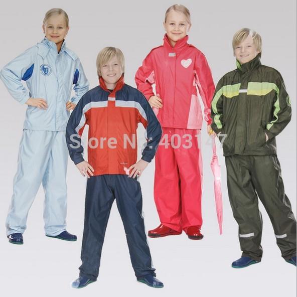 Polyester Children Rain suit Boys girls burberry_kids raincoat clothing set Kids rainy Jacket Pants Waterproof Childs Rainwear(China (Mainland))