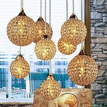 Golden LED Modern Crystal Pendant light Lamp with 8 Lights For Living Dining Room Luminaire Lustres