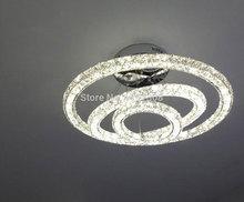 Modern LED Pendant Lights K9 Crystal Circle Ring Cord Hanging Lamp Three side crystals Art Decoration Luminaire Home Luster Lamp(China (Mainland))