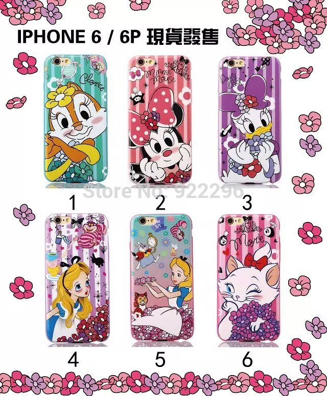 2015 New Arrival 3D Cartoon Movie Disny Minnie Mickey Snow White Hello Kitty Soft TPU Back Cover For Apple iPhone 6 6plus Retail(China (Mainland))