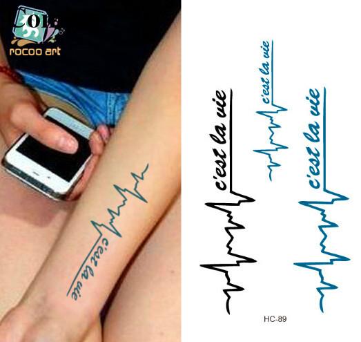 Heartbeat Tattoo Font Heartbeat Temporary Tattoo Sex