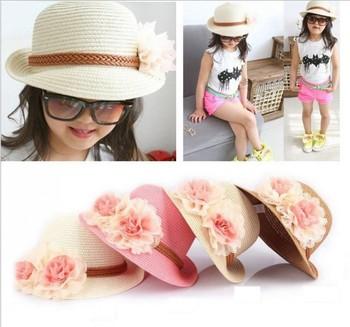 Лето новорожденных девочек соломенные шляпы 2015 мода большой цветок шапки Chapeu де прайя корейских детей защита от солнца флоппи пляж Hat QY-086