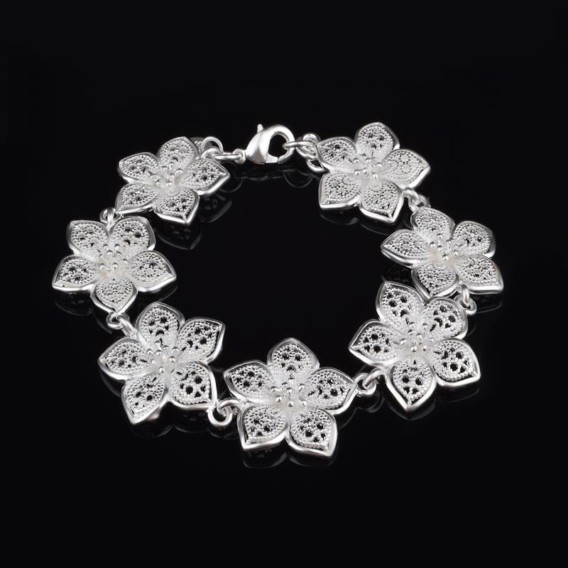 Wholesale 925 Sliver Women tops Daisy Flowers Bracelets Fashion Jewelry pulseiras femininas Pulseras mujer(China (Mainland))