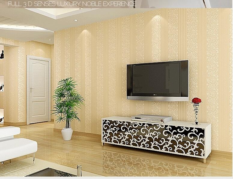 Papel de parede papel de não tecido de impressão rebanho sala de estar fundo papel de parede tridimensional listra vertical wallpaper(China (Mainland))