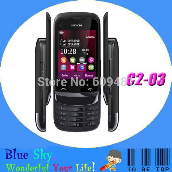 C2-03 Original Nokia C2-03 Mobile phone Dual SIM Card 2MP Jave Bluetooth Unlock Cellphone(China (Mainland))