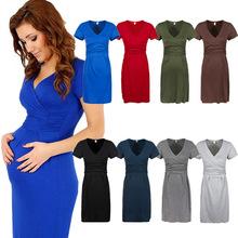 Femmes de maternité robe tunique à manches courtes v - cou extensible moulante enceinte Jersey robes robes Plus Size s - xl WAY027(China (Mainland))