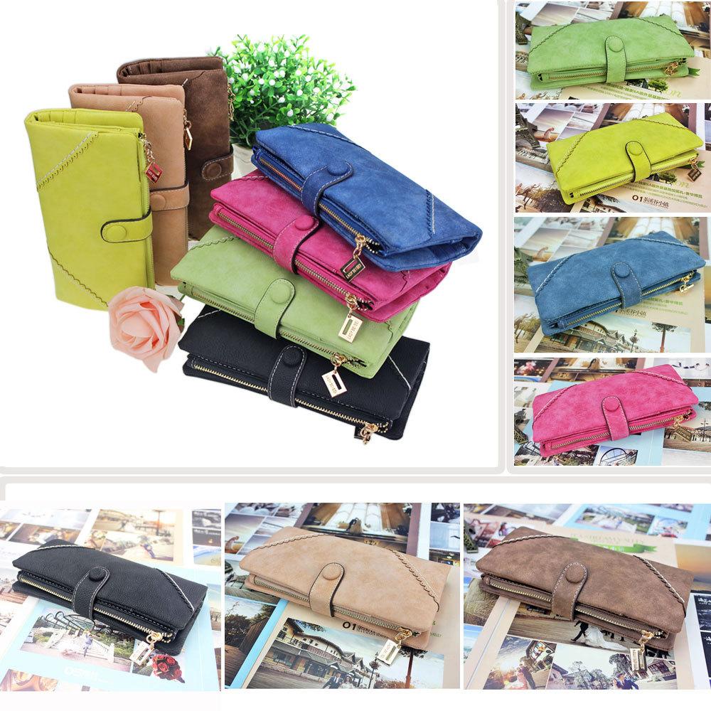 Free Ship High Quality New Women Fashion Leather Wallet Button Clutch Purse Lady Long Handbag Bag(China (Mainland))