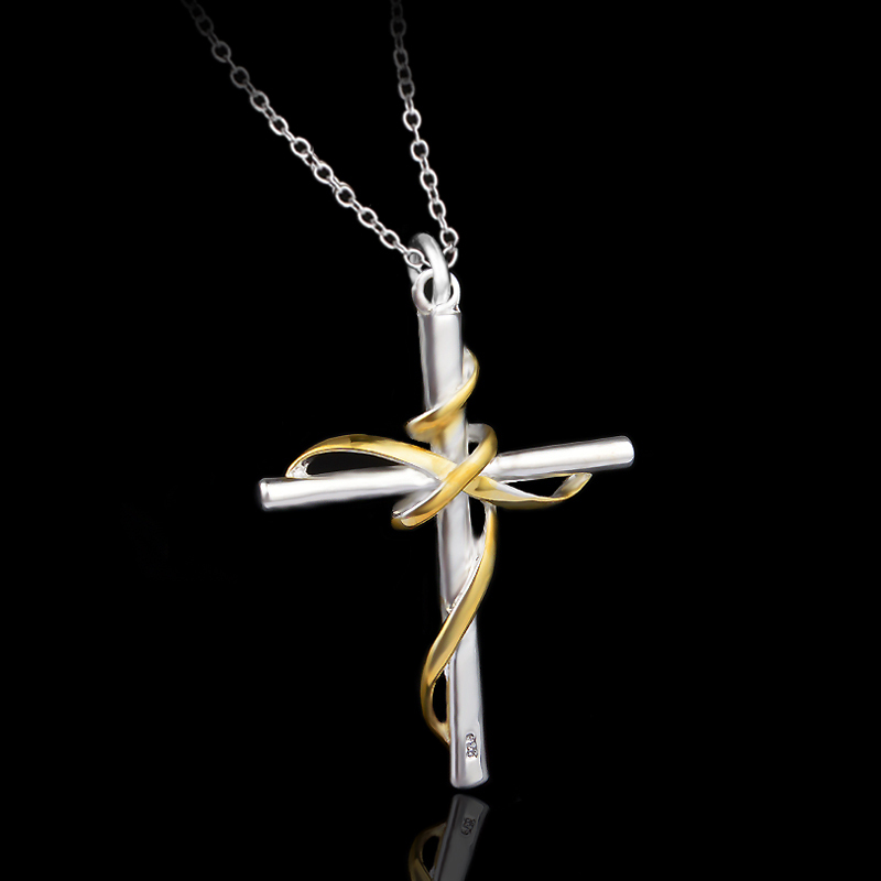 2015 hot sale fashion trade jewelry/925 sliver luck cross pendant necklace for women chain(China (Mainland))