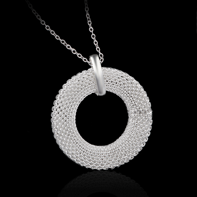 New Free Shipping 925 Sterling Silver Jewelry 925 Silver Necklace Women Flower Pendant Necklace Fine Jewelry Choker Necklace(China (Mainland))