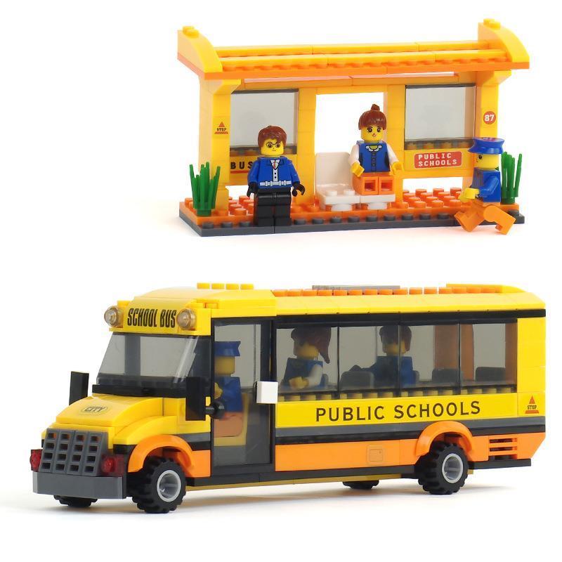 Ônibus formato criança feliz city school plugue feitiço montagem montagem bloco de construção de plástico brinquedos feliz movimentada buses 20115(China (Mainland))