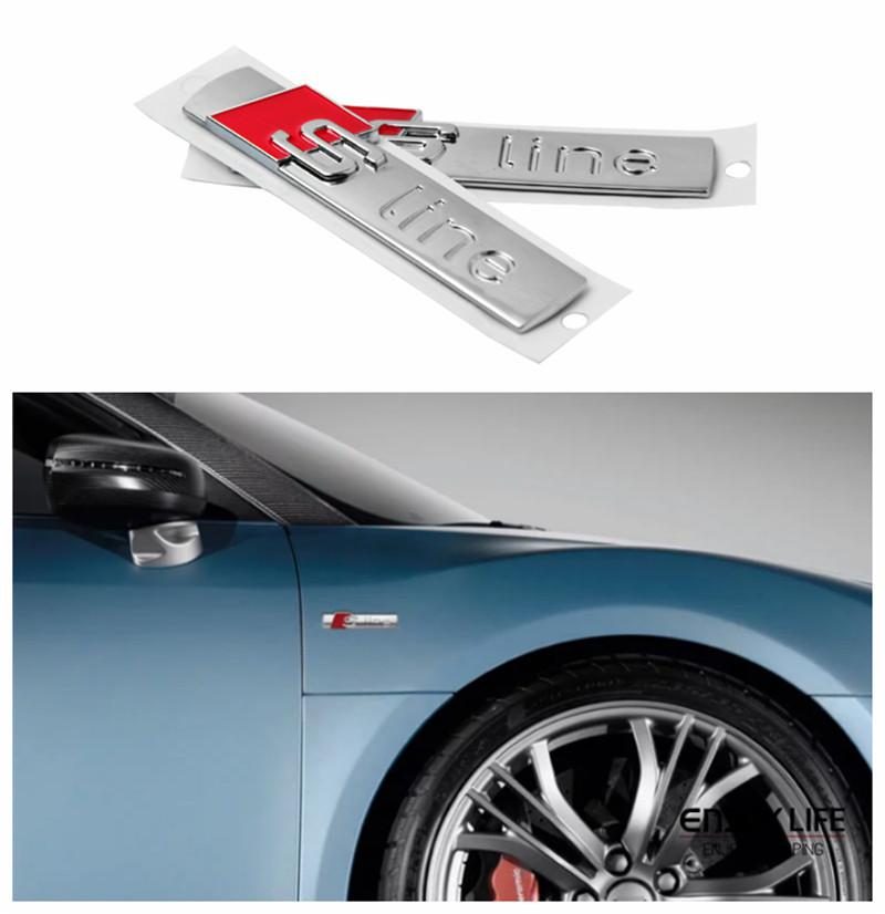 2pcs Car Side Door Sline S line Fender Emblem Decal Sticker For Audi A1 A3 A4 A5 A6 A7 A8 Q5 Q7 R8 S4 S5 S6 S7 S8 TT(China (Mainland))