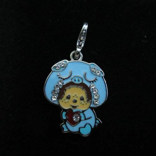 Monchhichi Meng Qiqi blue pig Necklace Bracelet small pendant (not package chain) Golden Gold winter MEN women(China (Mainland))