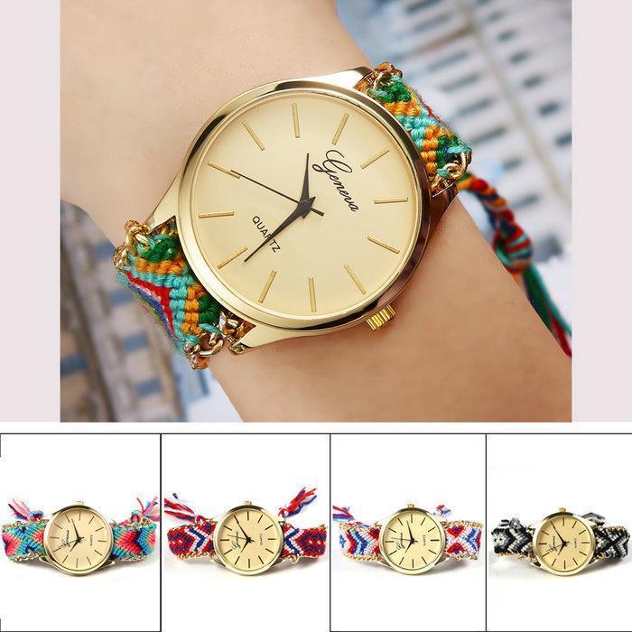 Women s Brand New Fashion Handmade Rope Bracelet Watch Geneva Women Hand Woven Jewelry Quarzt Wristwatch