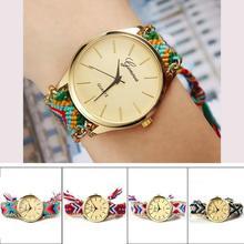 Women's Brand New Fashion Handmade Rope Bracelet Watch Geneva Women Hand Woven Jewelry Quarzt Wristwatch 2015 new arrival