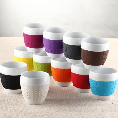 Denmark bodum 250ML genuine creative silicone sleeve cups ceramic cup mug cup coffee mug(China (Mainland))