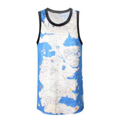 REGINO KNITTING F371 Hip Hop Map Of the World Sky Printing T-shirt Vest Men's Summer Cool Basketball Jersey Free Shipping 2015(China (Mainland))