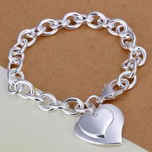 wholesale 925 sterling silver Fashion bracelet/bangle Jewelry trendy women double heart charm bracelets Free shipping LKH279(China (Mainland))