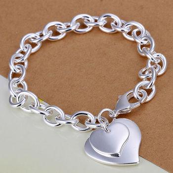 925 чистое серебро браслет / браслет ювелирные изделия модный женщины двойной в форме ...