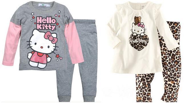 2015 Spring Autumn Hello Kitty Baby Girls Kids Childrens Pijamas Long Sleeve Cotton Pyjamas Sleepwear Pajamas Clothing Sets(China (Mainland))