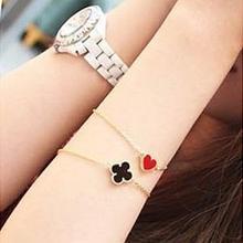 Fashionable women's wedding jewelry Heart Love Retro Plum Four Leaf Clover Bracelets Jewelry(China (Mainland))