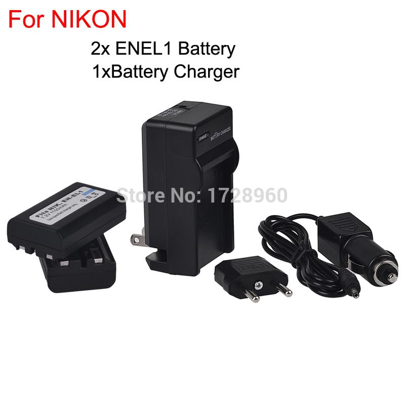 2PCS EN-EL1 ENEL1 rechargeable camera Battery + charging + car charger for NIKON Coolpix 4300 4500 4800 5000 5700(China (Mainland))