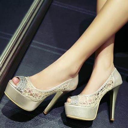 Plus size 34-43 Hot sale fashion peep toe high heels ladies shoes woman gold silver women pumps platform party wedding shoes(China (Mainland))