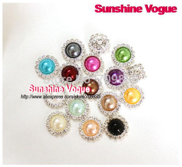 Rhinestone pearl button, Flat back round shape 15mm crystal button for bowknot/wedding dress/hair jewelry/Wedding Invitation(China (Mainland))