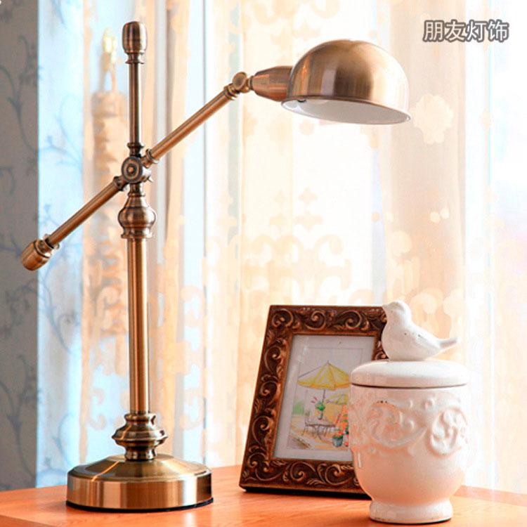 American Iron Metal Rocker copper lamp retro living room bedroom art deco table lamp office den(China (Mainland))
