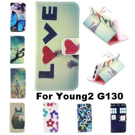 Stand Design PU Leather Phone Case For Samsung Galaxy Young2 G130 Wallet Style Flip Style Back Cover With Card Slot For Young 2(China (Mainland))