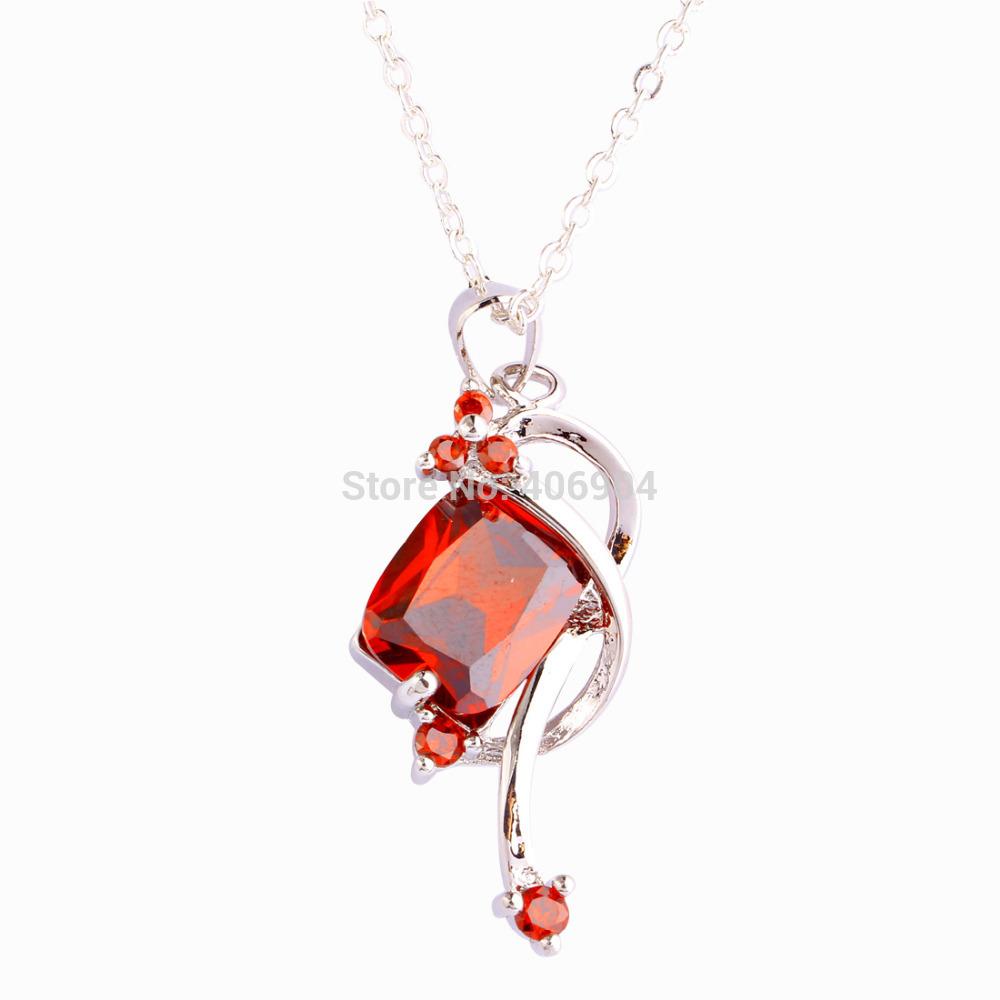 Wholesale Fangle Lady Emerald Cut Garnet 925 Silver Chain Necklace Pendant Splendide Female Wedding Party Jewelry Free Shipping(China (Mainland))