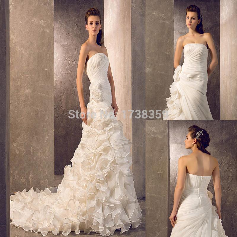 2015 Free Customize 24W 26W 28W 30W 32W 34W Vestidos De Noiva Court Train Organza Strapless Bridal Gown A Line Wedding Dresses(China (Mainland))