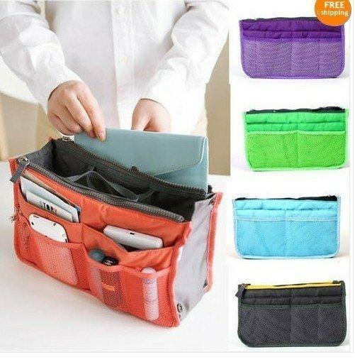 NEW Unisex Mp3 Phone Cosmetic Storage Bag Organizer Nylon Dual Bag In Bag Handbag Make UP Bag Tote Bags 8 Colors(China (Mainland))
