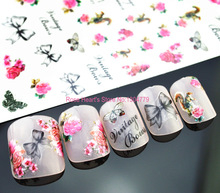 beauty 3d nail stickers decals manicure nail art decorations tools rose design S-D101